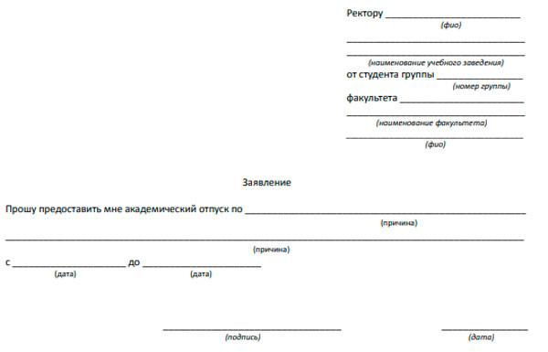 Как предоставляется академический отпуск студентам по следующим основаниям: медицинским, семейным и др